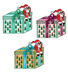 Childs drawing of Santa Claus with a gift vector image vector image