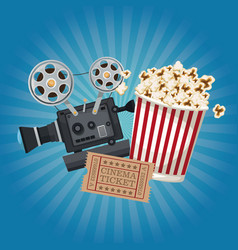 color background with glow with ticket movie and vector image