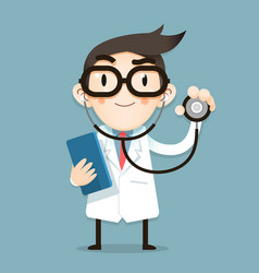 doctor tiny character health tips vector image
