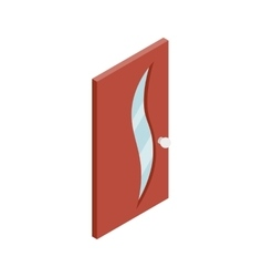 Door with glass wavelike inset icon vector