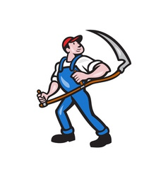 Farmer Worker Holding Scythe Cartoon vector image vector image