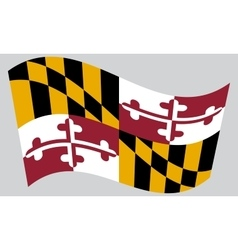 Flag of maryland waving on gray background vector