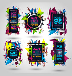 Futuristic frame art design with abstract shapes vector