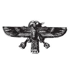 Gold enamel vulture or hawk in enamel on gold vector