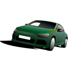 Green car sedan on the road vector