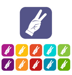 Hand showing victory sign icons set flat vector