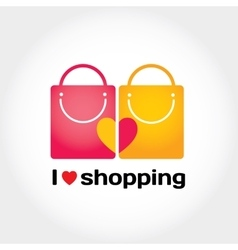 I love shopping Smiling bags with hearts on vector image vector image