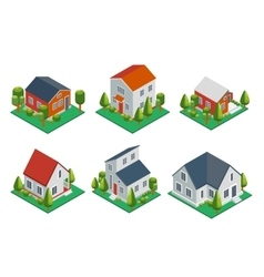 Isometric 3d private house rural buildings and vector