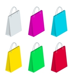 Isometric Paper Shopping Bags collection isolated vector image