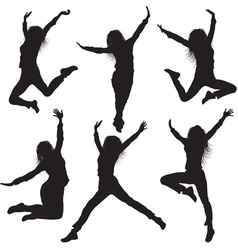 Jumping Female Silhouette Set vector image