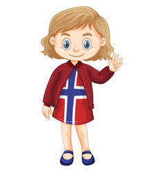 Little girl wearing clothes with norway design vector