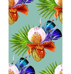 Orchid and Feathers blue pattern vector image vector image