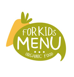 Organic food for kids cafe special menu for vector