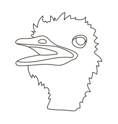 Ostrich icon in outline style isolated on white vector