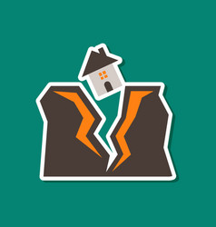 Paper sticker on stylish background of house vector