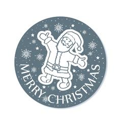 Round christmas greeting card santa grey vector