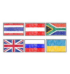 Set flags of the world icon in cartoon scribble vector