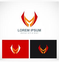 shape letter m sharp company logo vector image
