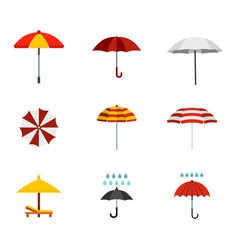 umbrella icon set flat style vector image
