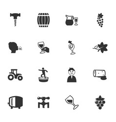Vineyard and wine icons set vector