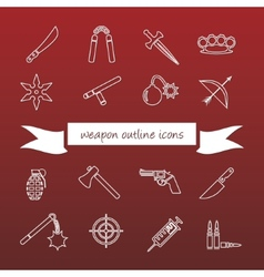 Weapon outline icons vector