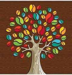 Coffee beans tree vector image