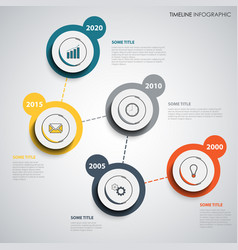 Time line info graphic with abstract design round vector