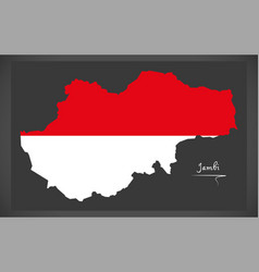 Jambi indonesia map with indonesian national flag vector