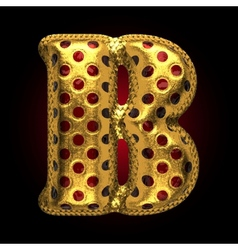 Golden and red letter b vector