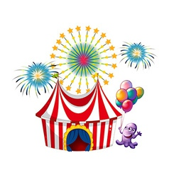 A monster near the circus tent vector