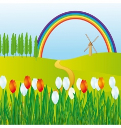 Rainbow meadows vector