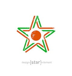 Star with niger flag colors symbol and grunge vector