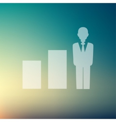 Man with growing diagram in flat style icon vector