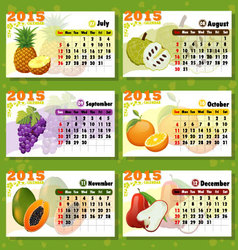 Calendar 2015 fruits 6 months vector