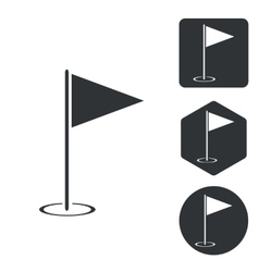 Golf flagstick icon set monochrome vector