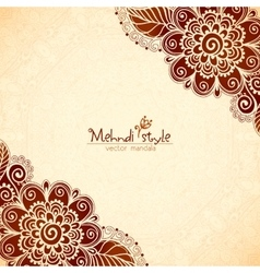 Vintage flowers ethnic background in indian mehndi vector