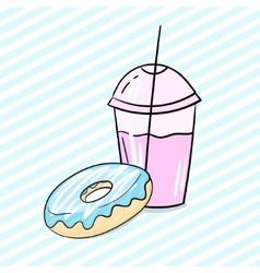 Donut and milkshake vector