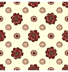 Red flowers and circles pattern natural seamless vector