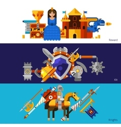 Horizontal Knight Banners Set vector image