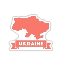Paper sticker on white background map of ukraine vector
