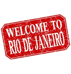 Welcome to rio de janeiro red square grunge stamp vector