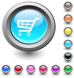 Shopping cart round button vector image