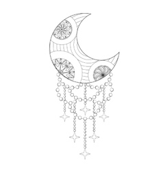 Bohemian moon hand drawn zentangle artistic moon vector