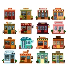 Collection exterior view of shop buildings vector