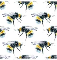 Watercolor bumblebees seamless pattern vector