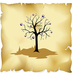 Abstract tree on old paper background vector