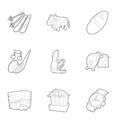 Attractions of Switzerland icons set vector image