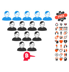 Bitcoin ponzi pyramid manager icon with lovely vector