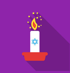christmas candle with snowflake icon in flat style vector image vector image