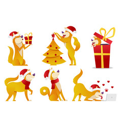 christmas dog cartoon characters vector image vector image